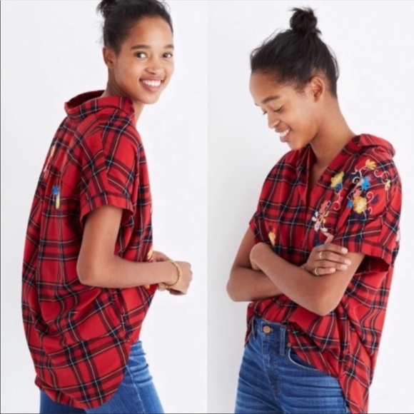 Madewell Tops - Madewell embroidered central shirt in plaid